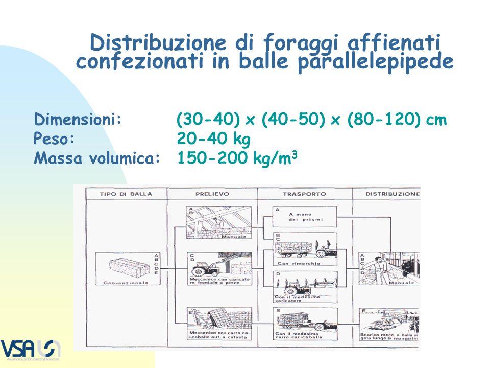 Distribuzione di foraggi affienati confezionati in balle parallelepipede Dimensioni:(30-40) x (40-50) x (80-120) cm Peso:20-40 kg Massa volumica:150-2