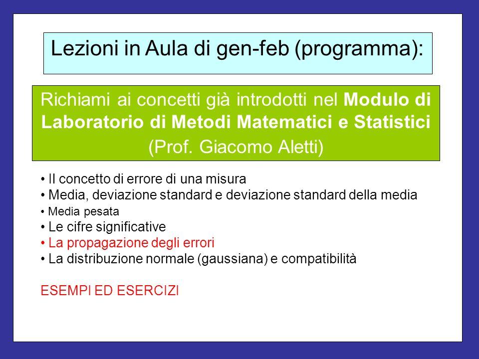 Lezioni in Aula di gen-feb (programma): Il concetto di errore di una misura Media, deviazione standard e deviazione standard della media Media pesata