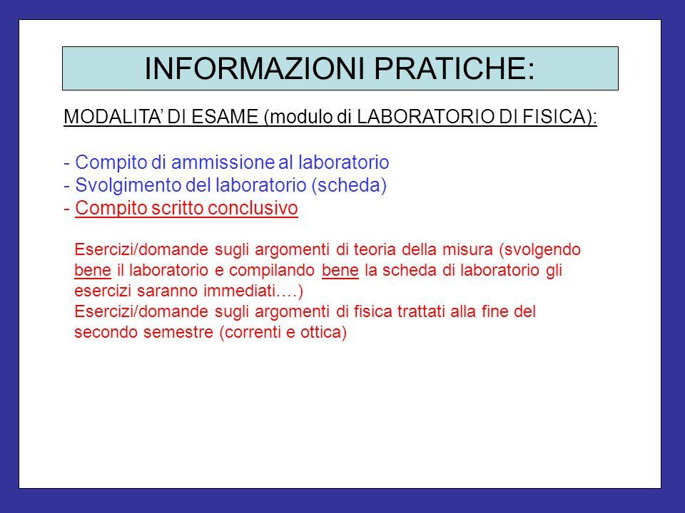 INFORMAZIONI PRATICHE: MODALITA DI ESAME (modulo di LABORATORIO DI FISICA): - Compito di ammissione al laboratorio - Svolgimento del laboratorio (sche