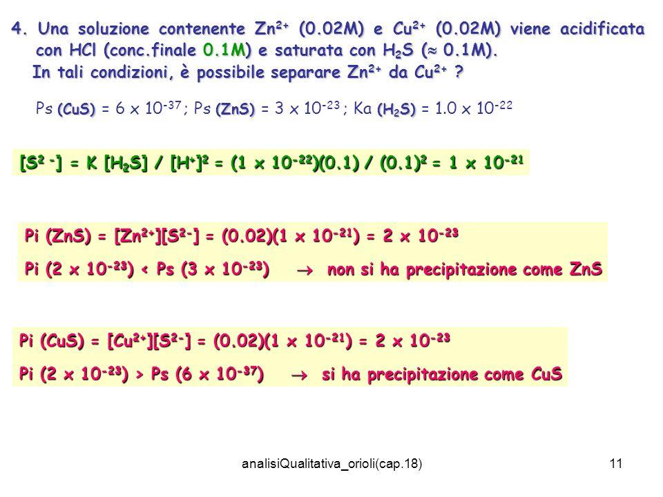 analisiQualitativa_orioli(cap.18)11 4. Una soluzione contenente Zn 2+ (0.02M) e Cu 2+ (0.02M) viene acidificata con HCl (conc.finale 0.1M) e saturata