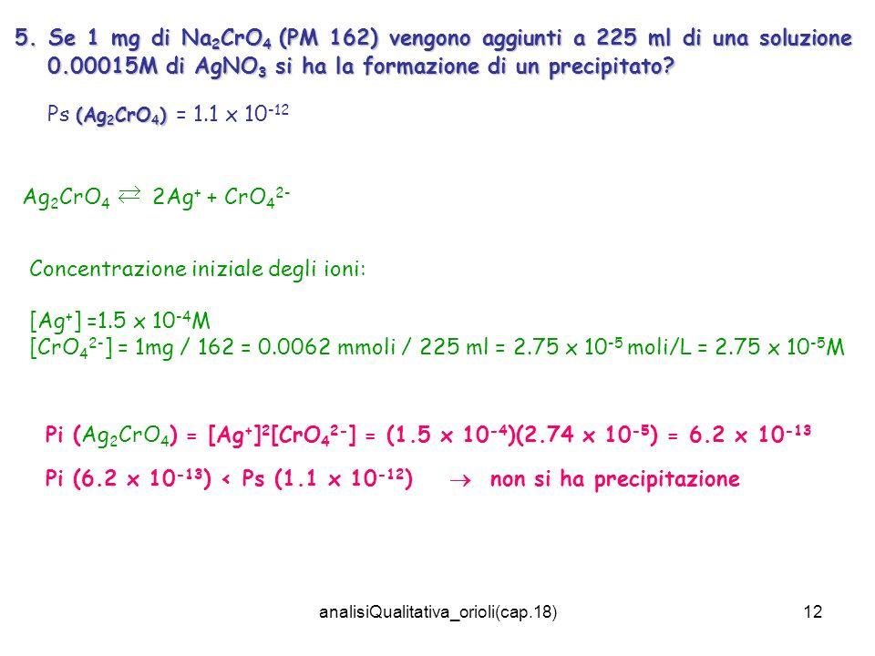 analisiQualitativa_orioli(cap.18)12 5. Se 1 mg di Na 2 CrO 4 (PM 162) vengono aggiunti a 225 ml di una soluzione 0.00015M di AgNO 3 si ha la formazion