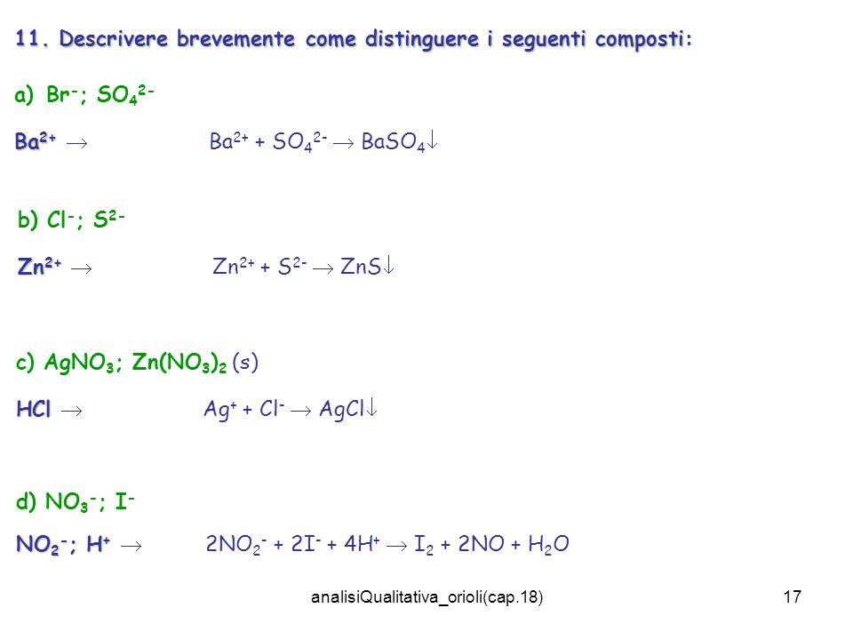 analisiQualitativa_orioli(cap.18)17 11. Descrivere brevemente come distinguere i seguenti composti: a)Br - ; SO 4 2- Ba 2+ Ba 2+ Ba 2+ + SO 4 2- BaSO