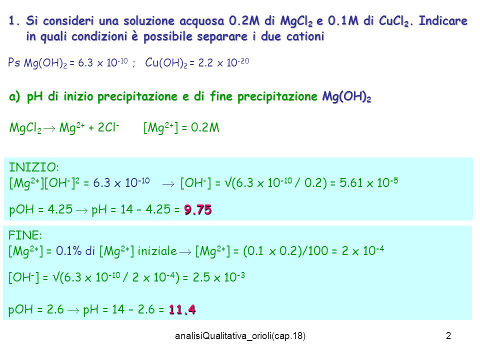analisiQualitativa_orioli(cap.18)2 1.Si consideri una soluzione acquosa 0.2M di MgCl 2 e 0.1M di CuCl 2. Indicare in quali condizioni è possibile sepa