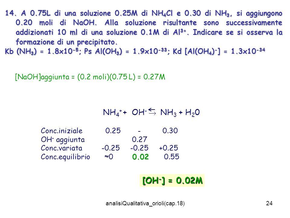 analisiQualitativa_orioli(cap.18)24 14. A 0.75L di una soluzione 0.25M di NH 4 Cl e 0.30 di NH 3, si aggiungono 0.20 moli di NaOH. Alla soluzione risu