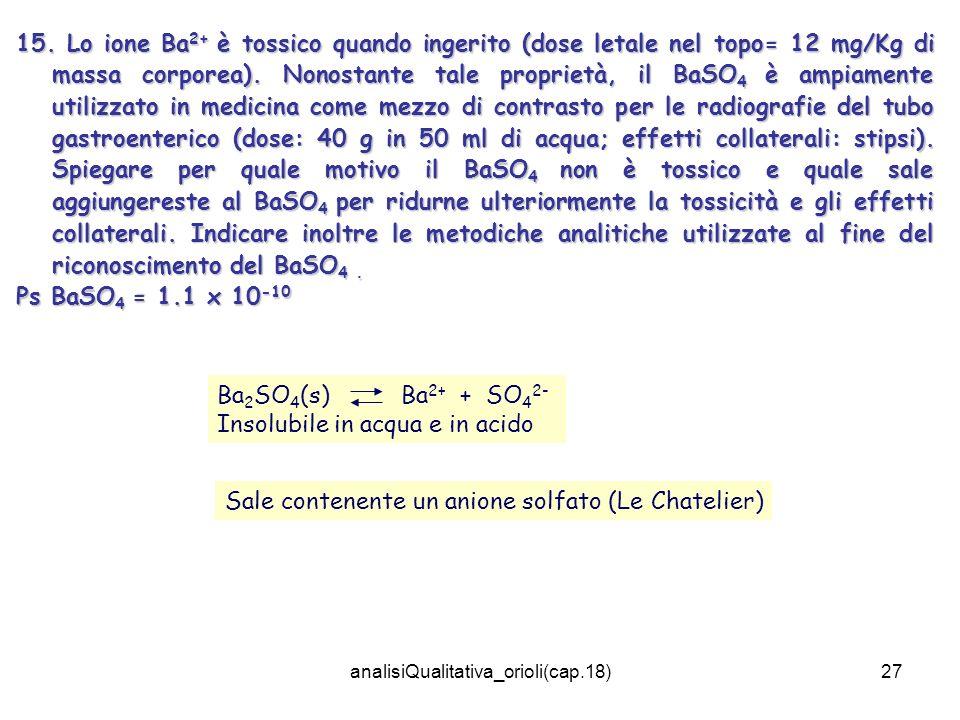 analisiQualitativa_orioli(cap.18)27 15. Lo ione Ba 2+ è tossico quando ingerito (dose letale nel topo= 12 mg/Kg di massa corporea). Nonostante tale pr