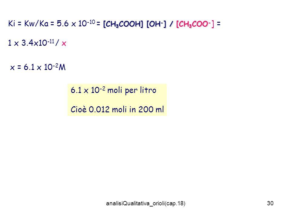 analisiQualitativa_orioli(cap.18)30 [CH 3 COOH] [OH - ] / [CH 3 COO - Ki = Kw/Ka = 5.6 x 10 -10 = [CH 3 COOH] [OH - ] / [CH 3 COO - ] = 1 x 3.4x10 -11