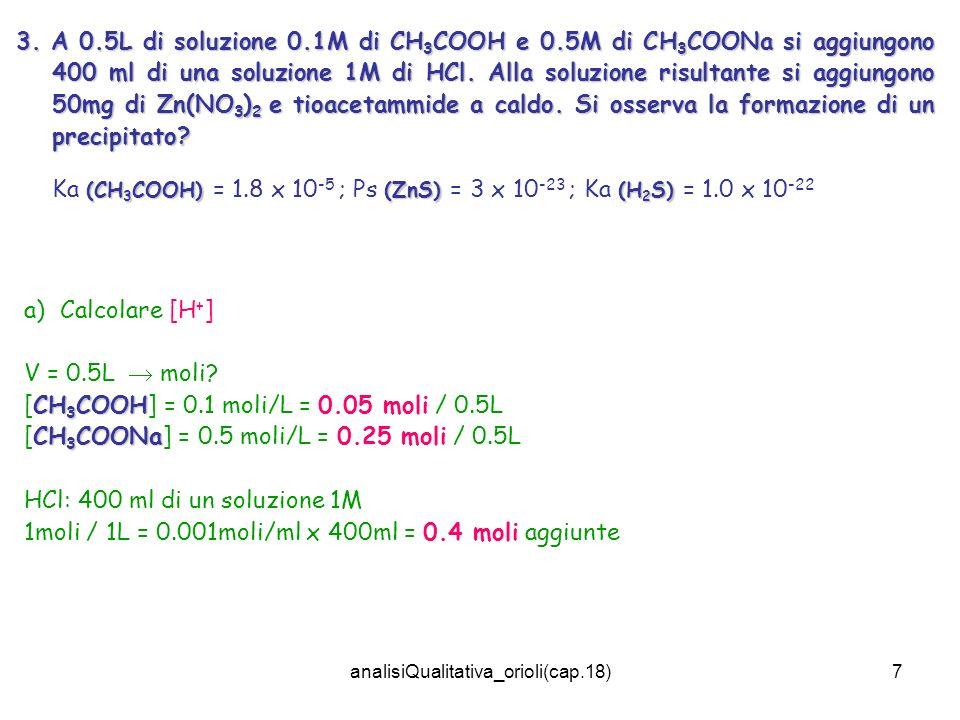 analisiQualitativa_orioli(cap.18)7 3. A 0.5L di soluzione 0.1M di CH 3 COOH e 0.5M di CH 3 COONa si aggiungono 400 ml di una soluzione 1M di HCl. Alla
