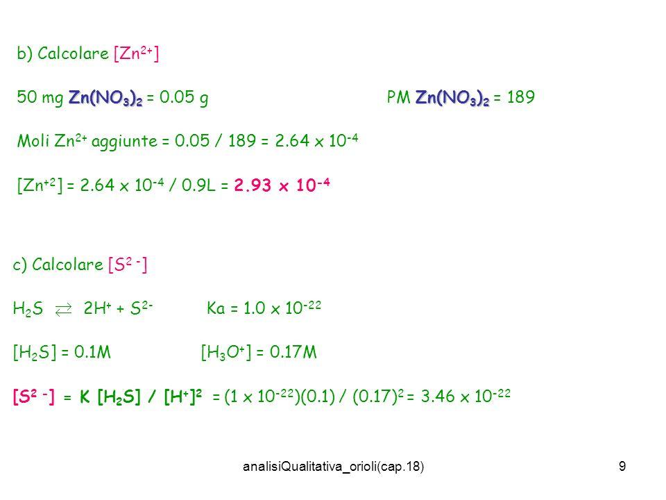 analisiQualitativa_orioli(cap.18)9 b) Calcolare [Zn 2+ ] Zn(NO 3 ) 2 Zn(NO 3 ) 2 50 mg Zn(NO 3 ) 2 = 0.05 g PM Zn(NO 3 ) 2 = 189 Moli Zn 2+ aggiunte =