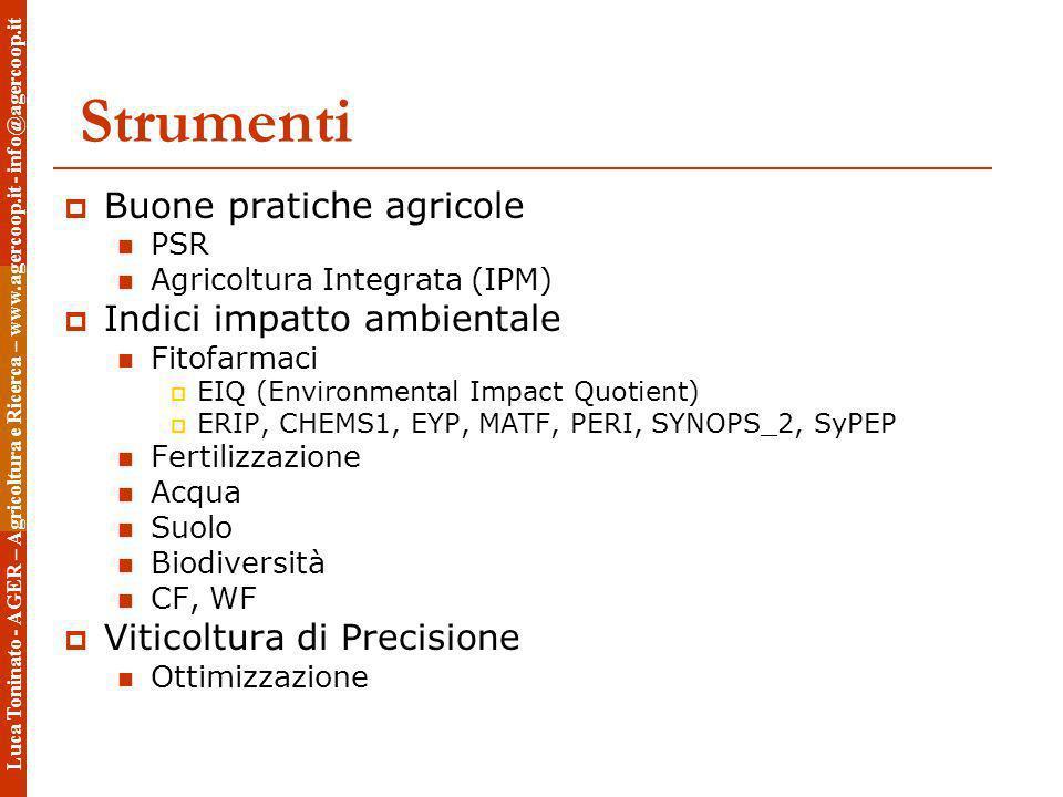 Strumenti Buone pratiche agricole PSR Agricoltura Integrata (IPM) Indici impatto ambientale Fitofarmaci EIQ (Environmental Impact Quotient) ERIP, CHEM