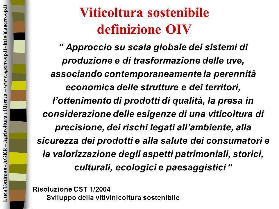 Viticoltura sostenibile definizione OIV Approccio su scala globale dei sistemi di produzione e di trasformazione delle uve, associando contemporaneame