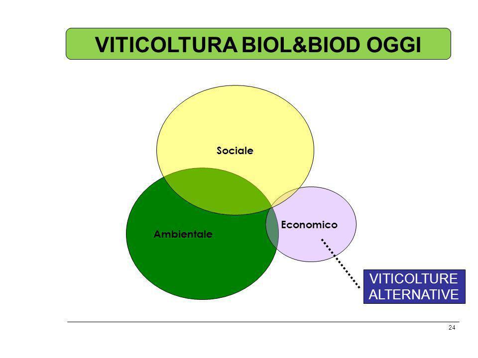 24 Ambientale Economico Sociale VITICOLTURA BIOL&BIOD OGGI VITICOLTURE ALTERNATIVE