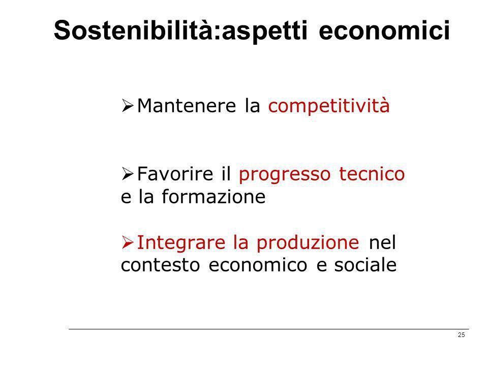25 Sostenibilità:aspetti economici Mantenere la competitività Favorire il progresso tecnico e la formazione Integrare la produzione nel contesto econo