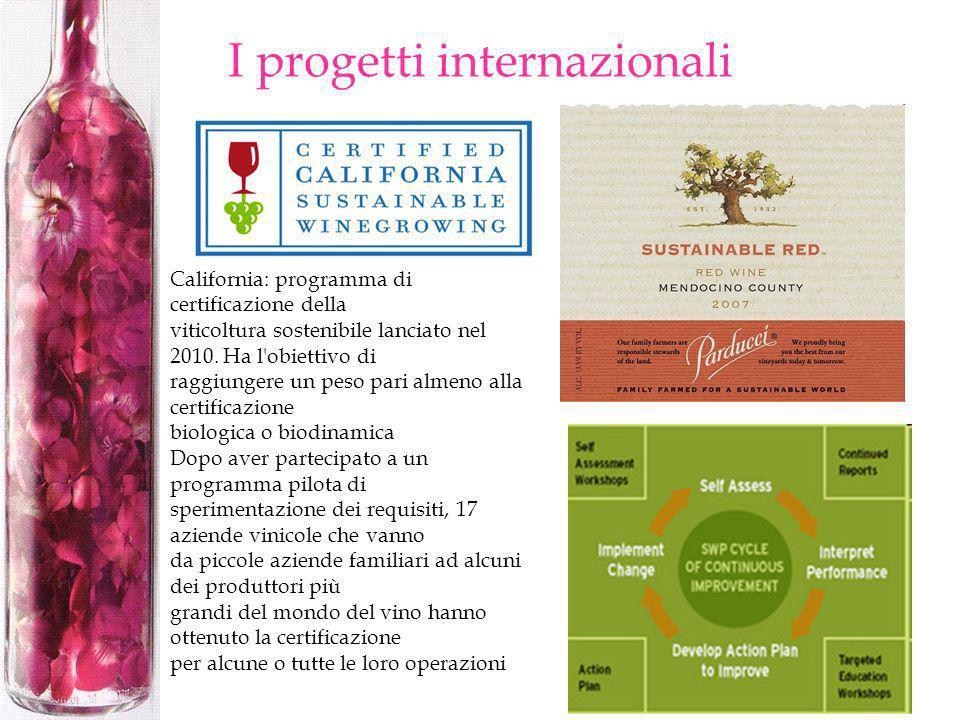I progetti internazionali California: programma di certificazione della viticoltura sostenibile lanciato nel 2010. Ha l'obiettivo di raggiungere un pe