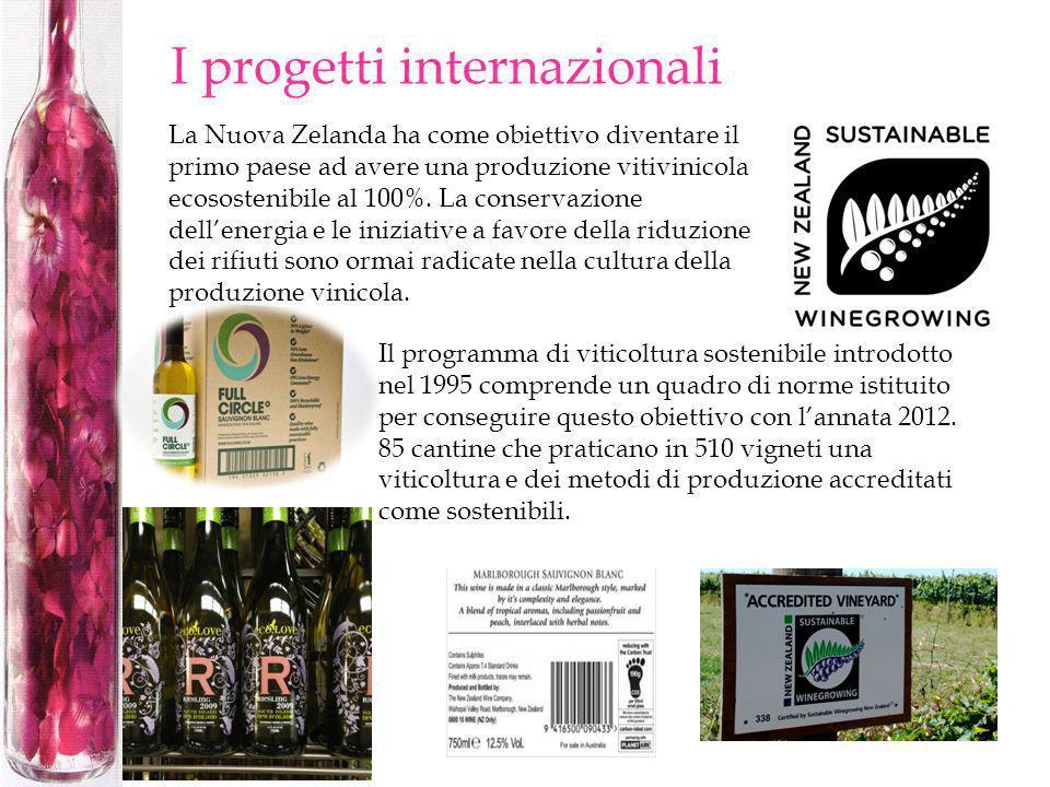 I progetti internazionali La Nuova Zelanda ha come obiettivo diventare il primo paese ad avere una produzione vitivinicola ecosostenibile al 100%. La