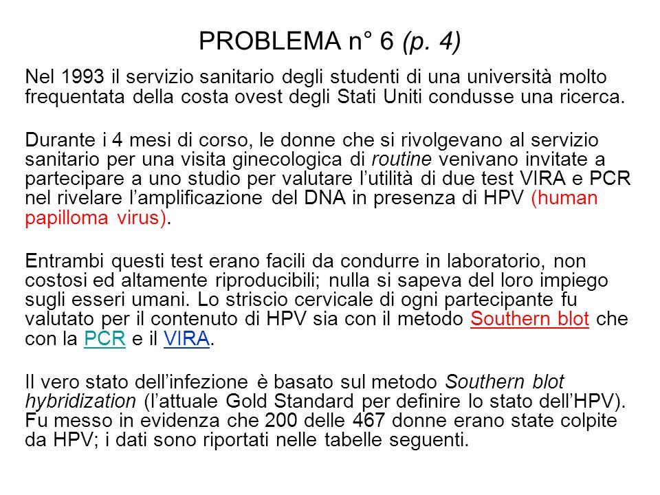 PROBLEMA n° 6 (p. 4) Nel 1993 il servizio sanitario degli studenti di una università molto frequentata della costa ovest degli Stati Uniti condusse un