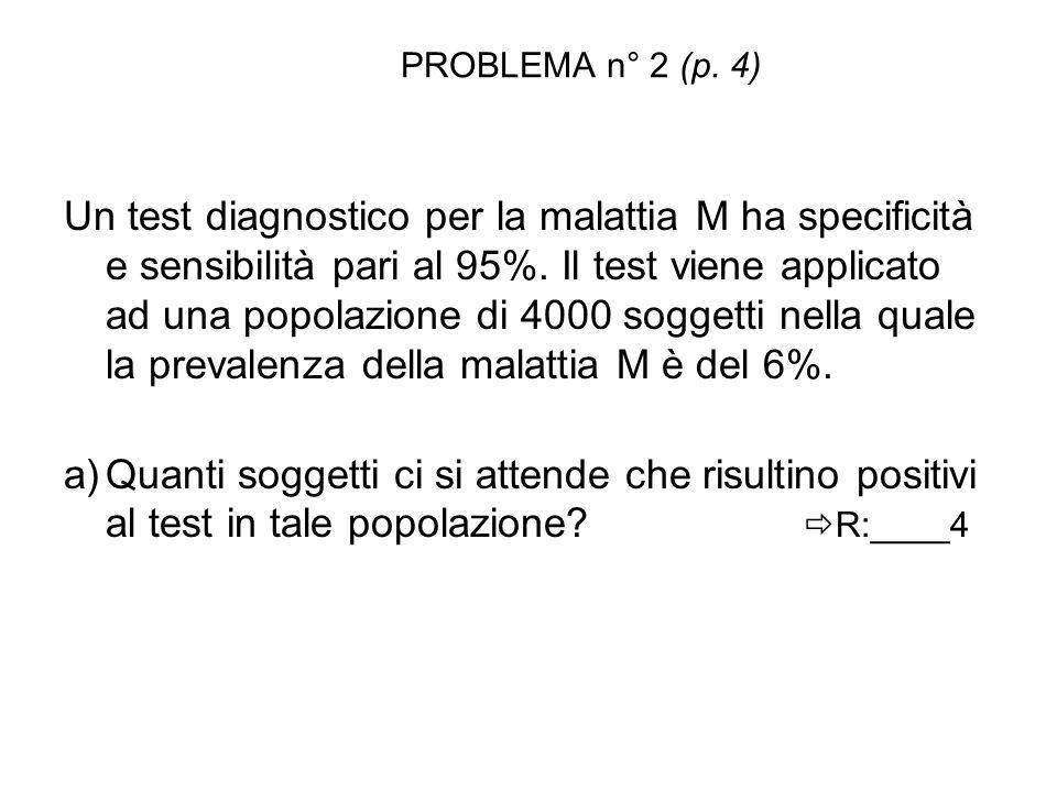 PROBLEMA n° 2 (p. 4) Un test diagnostico per la malattia M ha specificità e sensibilità pari al 95%. Il test viene applicato ad una popolazione di 400