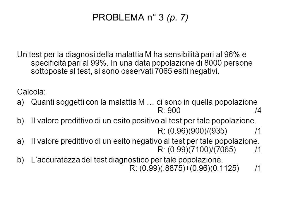 PROBLEMA n° 3 (p. 7) Un test per la diagnosi della malattia M ha sensibilità pari al 96% e specificità pari al 99%. In una data popolazione di 8000 pe