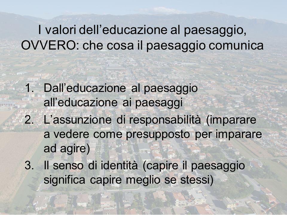 I valori delleducazione al paesaggio, OVVERO: che cosa il paesaggio comunica 1.Dalleducazione al paesaggio alleducazione ai paesaggi 2.Lassunzione di