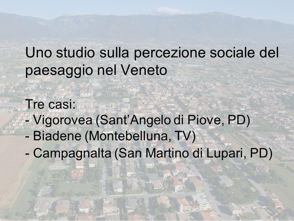 Uno studio sulla percezione sociale del paesaggio nel Veneto Tre casi: - Vigorovea (SantAngelo di Piove, PD) - Biadene (Montebelluna, TV) - Campagnalt