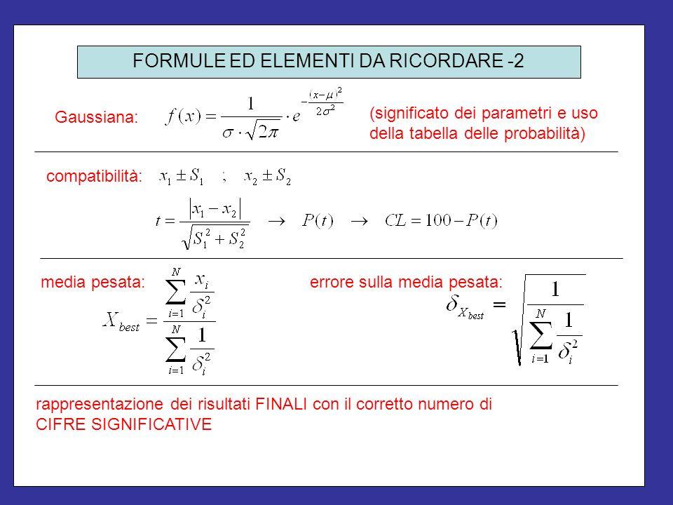 FORMULE ED ELEMENTI DA RICORDARE -2 Gaussiana: (significato dei parametri e uso della tabella delle probabilità) compatibilità: media pesata: errore s