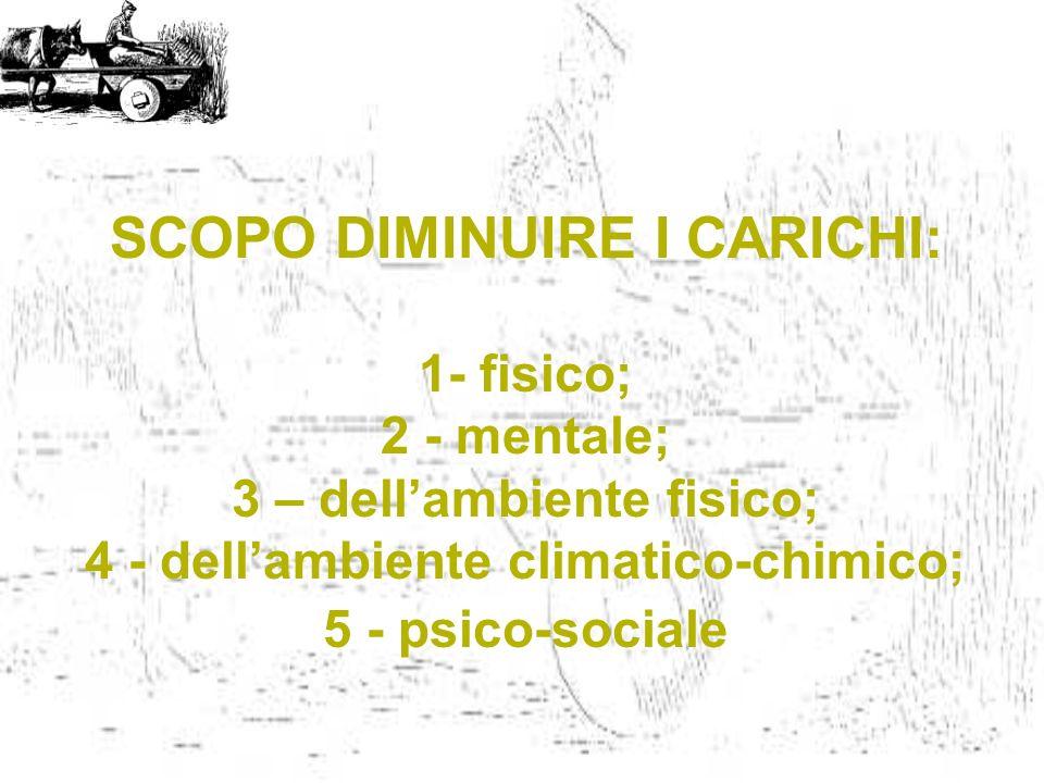 SCOPO DIMINUIRE I CARICHI: 1- fisico; 2 - mentale; 3 – dellambiente fisico; 4 - dellambiente climatico-chimico; 5 - psico-sociale