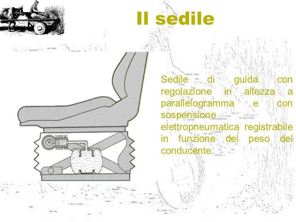 Il sedile Sedile di guida con regolazione in altezza a parallelogramma e con sospensione elettropneumatica registrabile in funzione del peso del condu