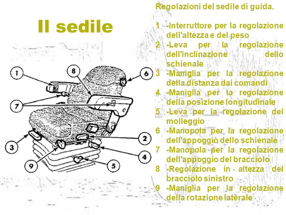 Il sedile Regolazioni del sedile di guida. 1-Interruttore per la regolazione dell'altezza e del peso 2-Leva per la regolazione dell'inclinazione dello