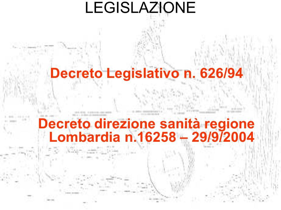 LEGISLAZIONE Decreto Legislativo n. 626/94 Decreto direzione sanità regione Lombardia n.16258 – 29/9/2004