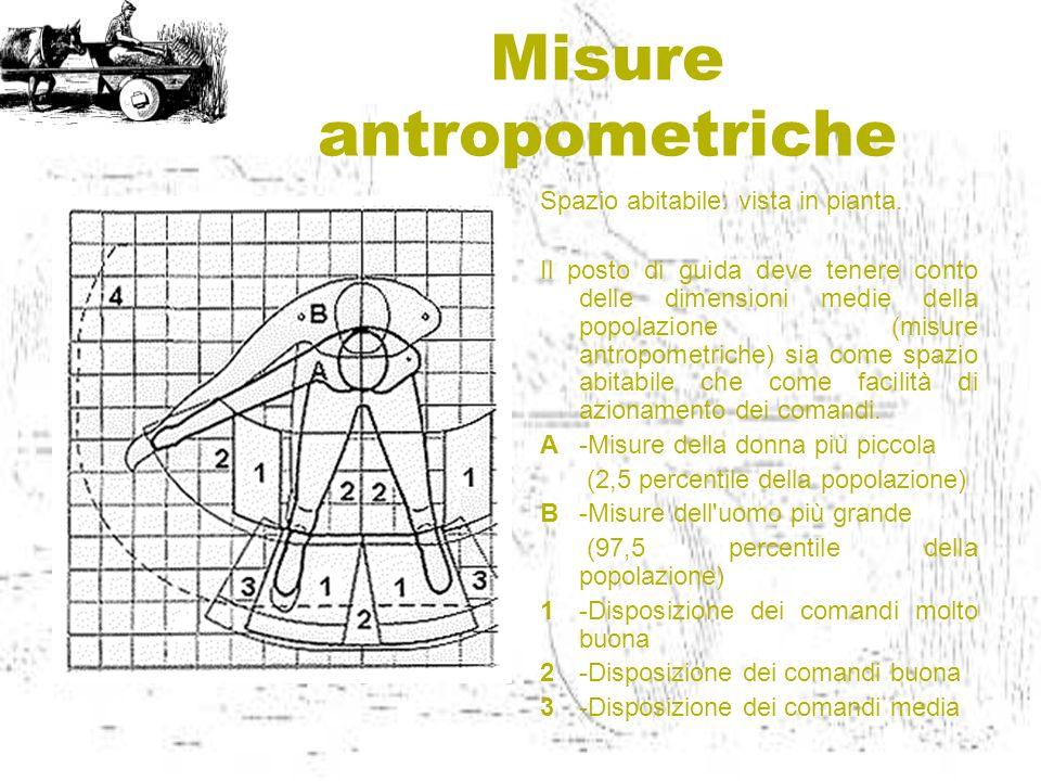 Misure antropometriche Spazio abitabile: vista in pianta. Il posto di guida deve tenere conto delle dimensioni medie della popolazione (misure antropo