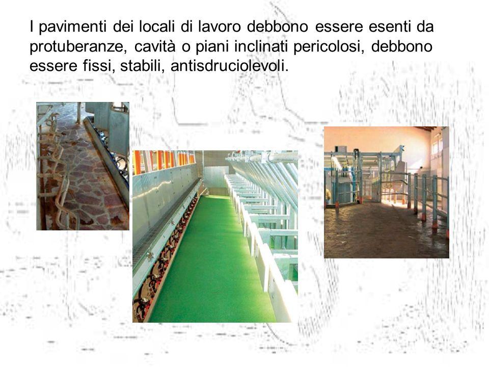 I pavimenti dei locali di lavoro debbono essere esenti da protuberanze, cavità o piani inclinati pericolosi, debbono essere fissi, stabili, antisdruci