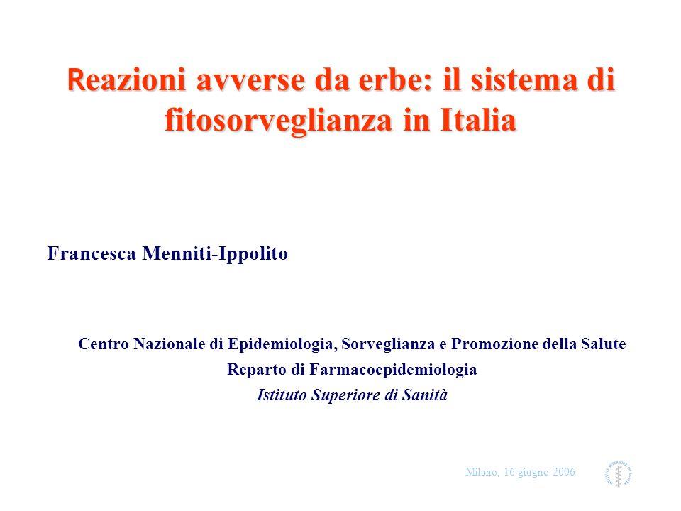 Milano, 16 giugno 2006 Background (1) Il ricorso a sostanze di origine naturale è consistente e in aumento: Italia: 3.6% 1991 4.8% 1999 EJCP (20029 (in 3 anni)(in 3 anni) USA: 2.5% 1990 12.1% 1997 JAMA, 1998 9.6% 1999 Medical care, 2002 UK: 19.8% 1998 Compl Ther Med, 2001 Canada: 71% almeno una volta, 2005 NHPD 38% quotidianamente In USA Iperico in un anno:+2800%