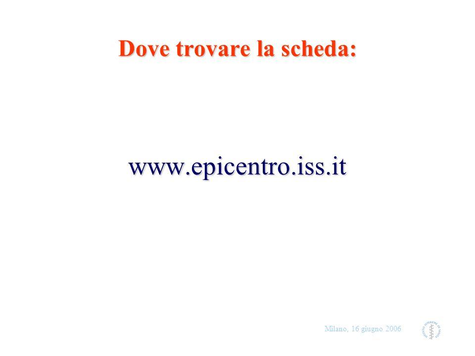 Milano, 16 giugno 2006 Dove trovare la scheda: www.epicentro.iss.it