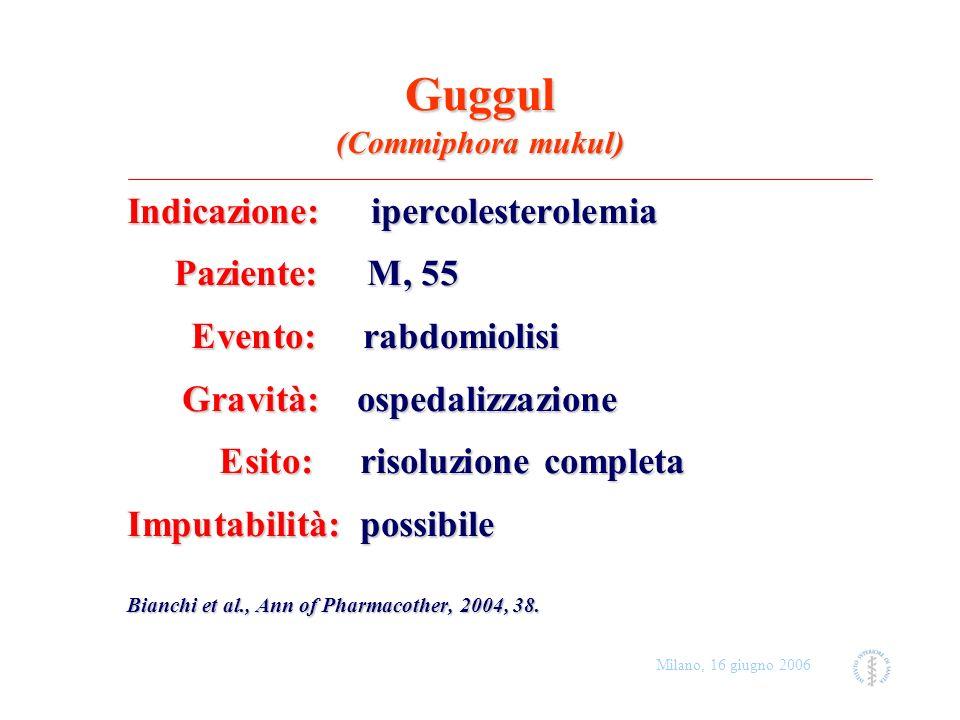 Milano, 16 giugno 2006 Guggul (Commiphora mukul) Indicazione: ipercolesterolemia Paziente: M, 55 Paziente: M, 55 Evento: rabdomiolisi Evento: rabdomio