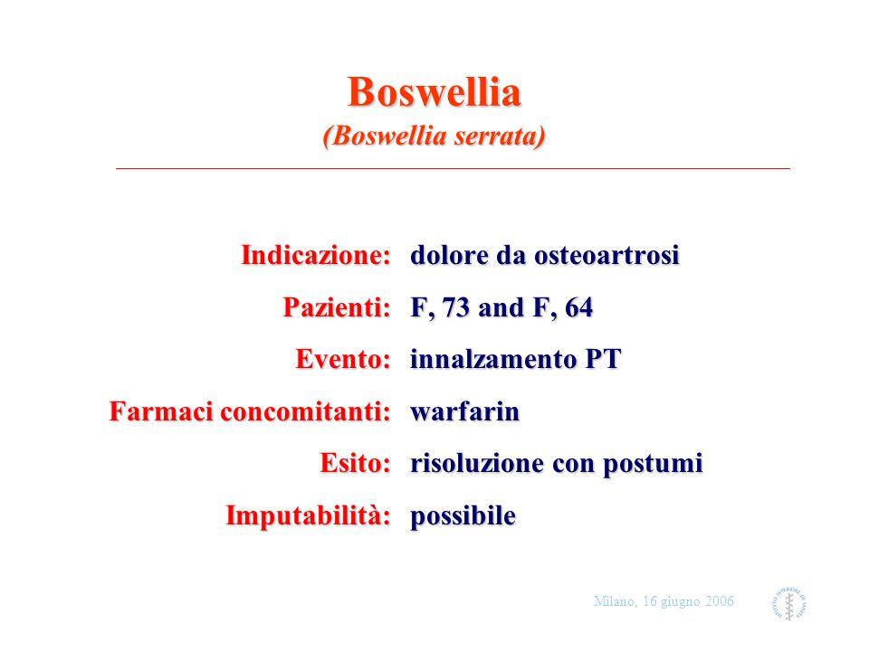 Milano, 16 giugno 2006 Boswellia (Boswellia serrata) Indicazione: dolore da osteoartrosi Pazienti: F, 73 and F, 64 Evento: innalzamento PT Farmaci con