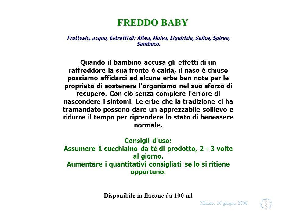 Milano, 16 giugno 2006 Fruttosio, acqua, Estratti di: Altea, Malva, Liquirizia, Salice, Spirea, Sambuco. Fruttosio, acqua, Estratti di: Altea, Malva,