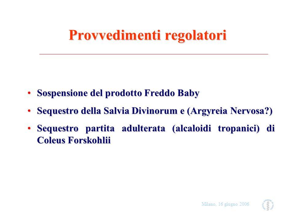 Milano, 16 giugno 2006 Provvedimenti regolatori Sospensione del prodotto Freddo BabySospensione del prodotto Freddo Baby Sequestro della Salvia Divino