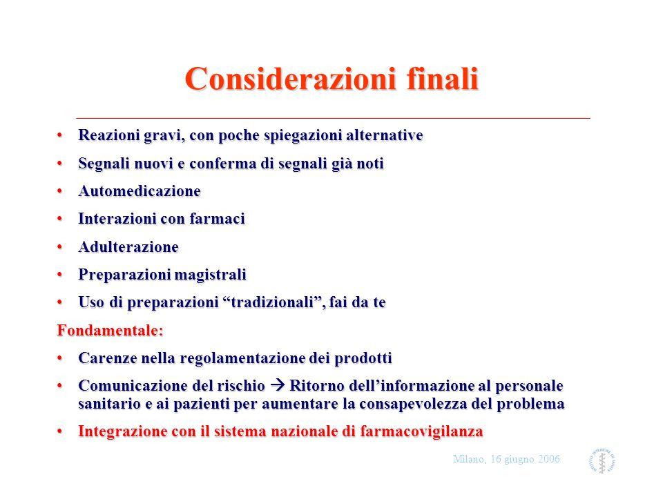 Milano, 16 giugno 2006 Considerazioni finali Reazioni gravi, con poche spiegazioni alternativeReazioni gravi, con poche spiegazioni alternative Segnal