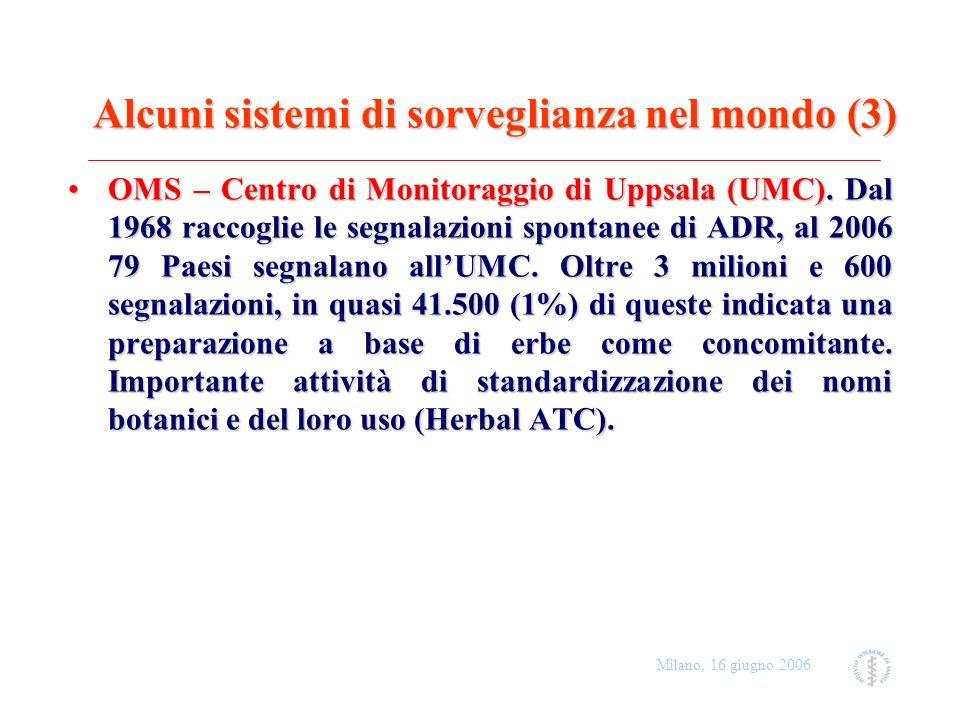 Milano, 16 giugno 2006 Boswellia (Boswellia serrata) Indicazione: dolore da osteoartrosi Pazienti: F, 73 and F, 64 Evento: innalzamento PT Farmaci concomitanti: warfarin Esito: risoluzione con postumi Imputabilità: possibile