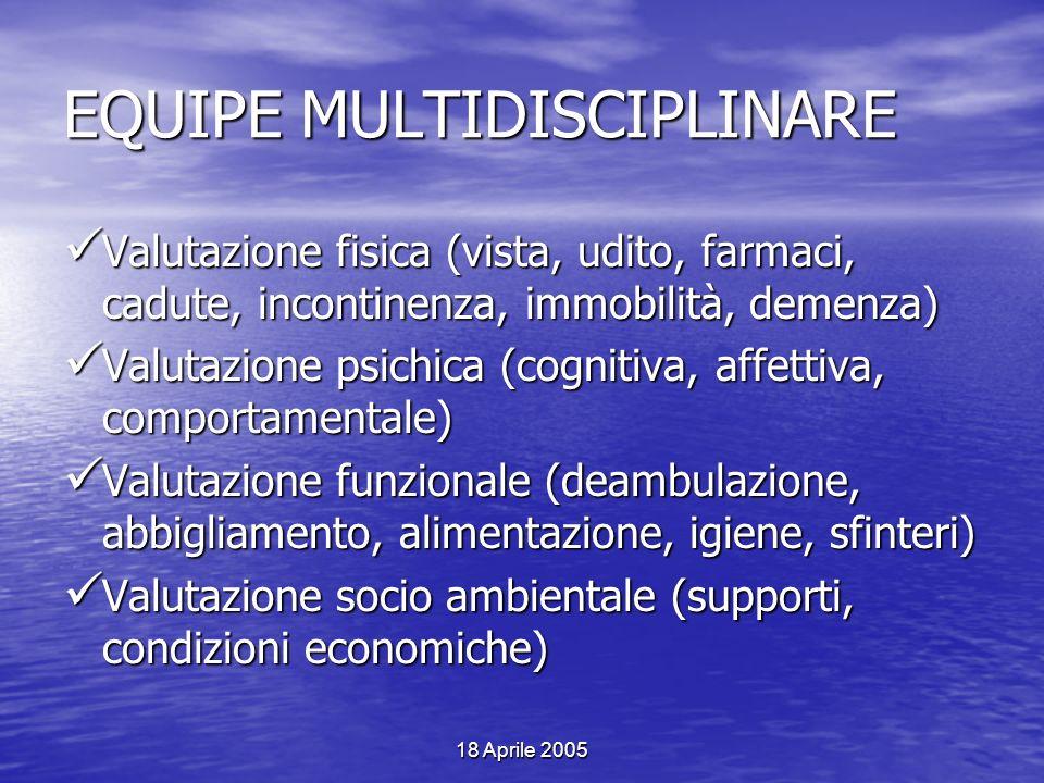 18 Aprile 2005 EQUIPE MULTIDISCIPLINARE Valutazione fisica (vista, udito, farmaci, cadute, incontinenza, immobilità, demenza) Valutazione fisica (vist