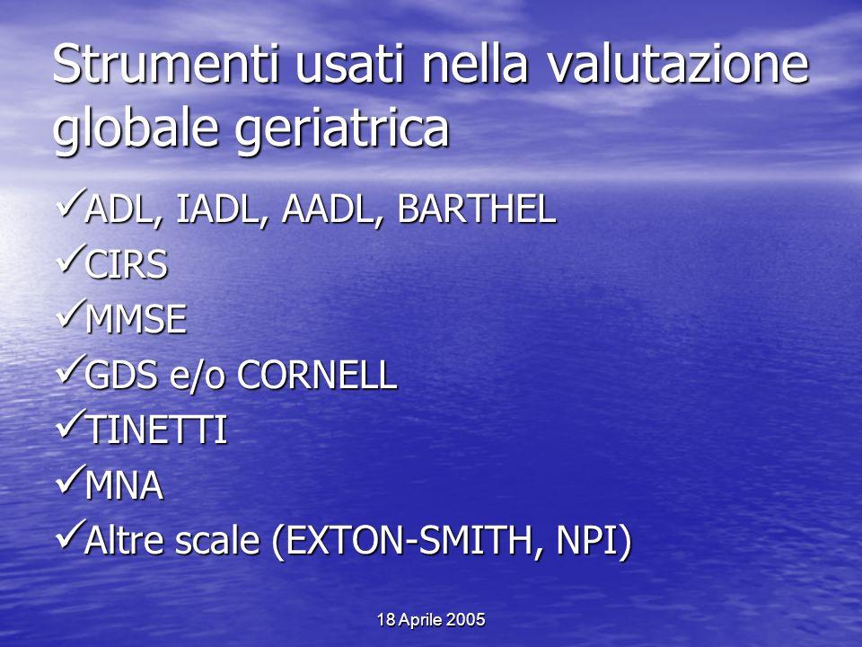 18 Aprile 2005 Strumenti usati nella valutazione globale geriatrica ADL, IADL, AADL, BARTHEL ADL, IADL, AADL, BARTHEL CIRS CIRS MMSE MMSE GDS e/o CORN