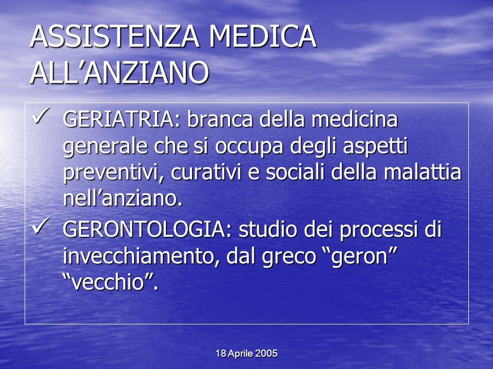 18 Aprile 2005 ASSISTENZA MEDICA ALLANZIANO GERIATRIA: branca della medicina generale che si occupa degli aspetti preventivi, curativi e sociali della