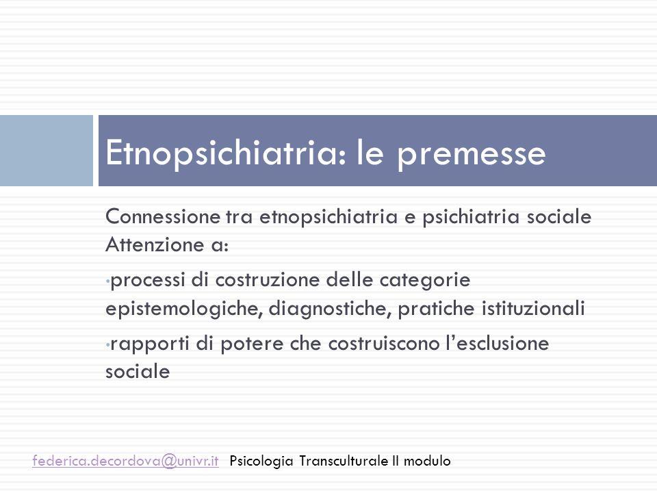 Diverso da: Comparazione di culture Tassonomia Interpretazione psicoanalitica delle culture Etnopsichiatria federica.decordova@univr.itfederica.decordova@univr.itPsicologia Transculturale II modulo