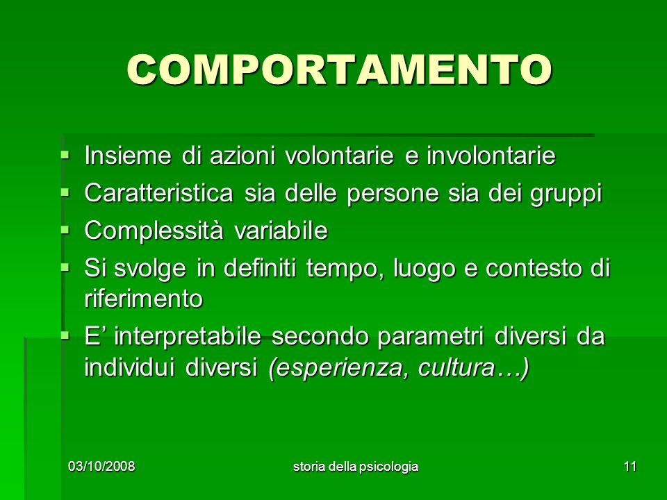 COMPORTAMENTO Insieme di azioni volontarie e involontarie Insieme di azioni volontarie e involontarie Caratteristica sia delle persone sia dei gruppi