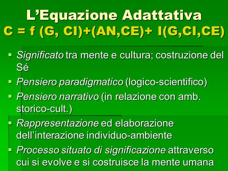 LEquazione Adattativa C = f (G, CI)+(AN,CE)+ I(G,CI,CE) Significato tra mente e cultura; costruzione del Sé Significato tra mente e cultura; costruzio