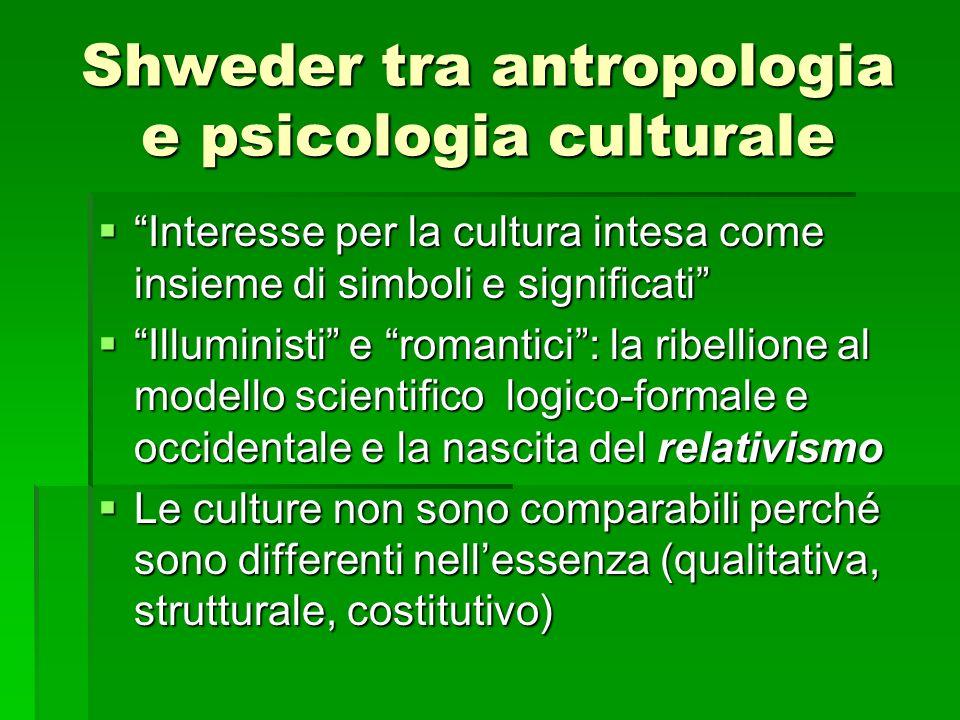Shweder tra antropologia e psicologia culturale Interesse per la cultura intesa come insieme di simboli e significati Interesse per la cultura intesa