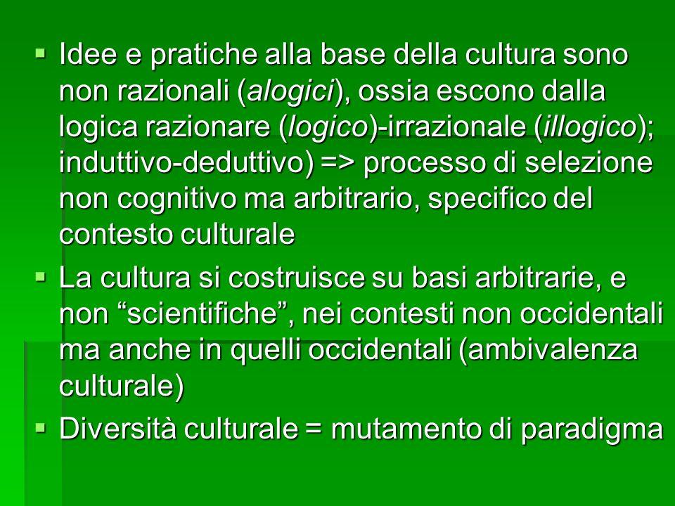 Idee e pratiche alla base della cultura sono non razionali (alogici), ossia escono dalla logica razionare (logico)-irrazionale (illogico); induttivo-d
