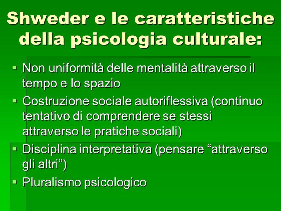 Shweder e le caratteristiche della psicologia culturale: Non uniformità delle mentalità attraverso il tempo e lo spazio Non uniformità delle mentalità