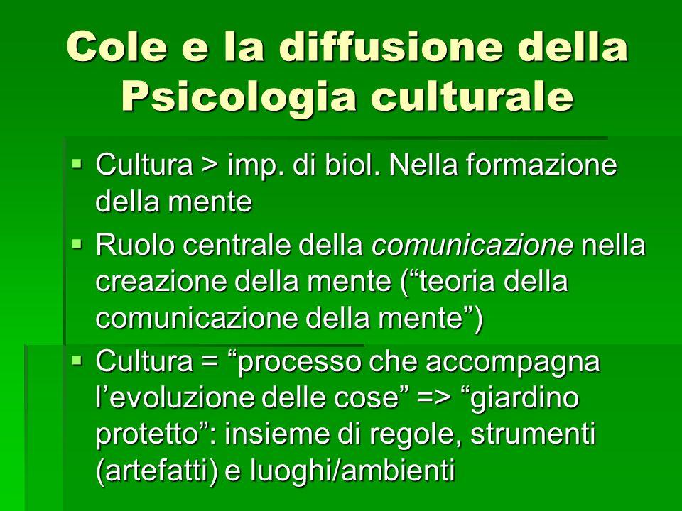 Cole e la diffusione della Psicologia culturale Cultura > imp. di biol. Nella formazione della mente Cultura > imp. di biol. Nella formazione della me
