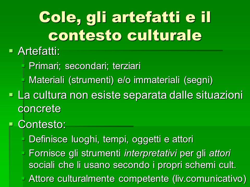 Cole, gli artefatti e il contesto culturale Artefatti: Artefatti: Primari; secondari; terziari Primari; secondari; terziari Materiali (strumenti) e/o