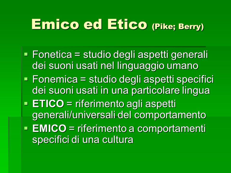 Emico ed Etico (Pike; Berry) Fonetica = studio degli aspetti generali dei suoni usati nel linguaggio umano Fonetica = studio degli aspetti generali de